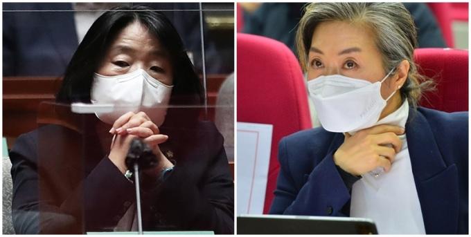 더불어민주당은 22일 부동산 비위 의혹이 제기된 윤미향 의원(왼쪽), 양이원영 의원을 제명했다. /사진=뉴스1(공동취재사진단)