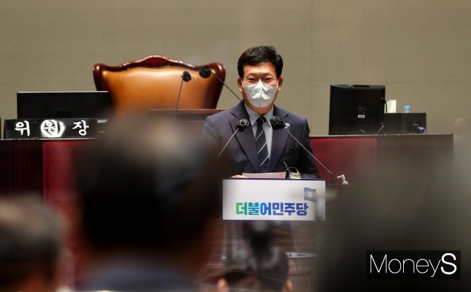 [머니S포토] 의원총회 주재하는 송영길 대표