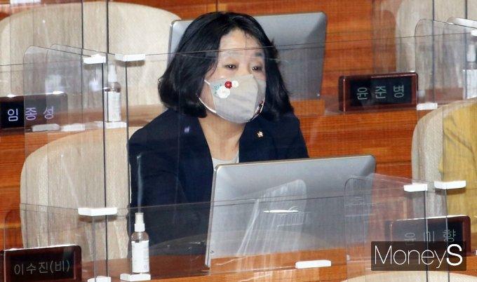 [머니S포토] 부동산 투기 의혹 與 제명 '윤미향' 대정부 질문 참석