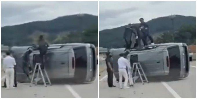 고속도로 전복 차량, 시민들은 지체 없이 구조에 뛰어들었다