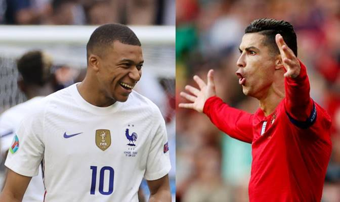오는 24일 오전(한국시각) 킬리안 음바페(왼쪽부터)가 이끄는 2018 러시아 월드컵 챔피언 프랑스와 크리스티아노 호날두를 앞세운 유로 2016 우승팀 포르투갈이 유로2020 조별라운드 마지막 경기를 헝가리 부다페스트 푸스카스아레나에서 치른다. 사진은 유로2020에 참가한 음바페(왼쪽)와 호날두. /사진=로이터