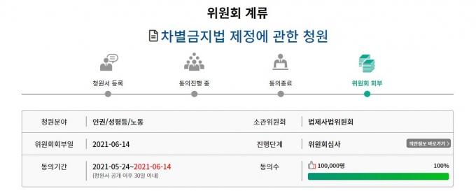 국회 국민청원동의 10만명을 돌파한 차별금지법 제정에 관한 청원. /사진=국회 국민동의청원 사이트 캡처