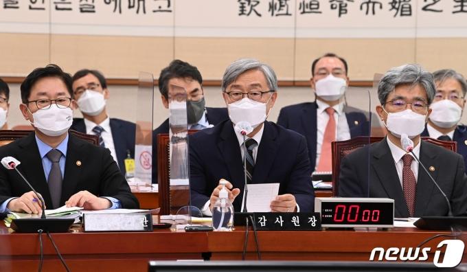 최재형 감사원장이 18일 서울 여의도 국회에서 열린 법제사법위원회에서 의원들의 질의에 답하고 있다. 2021.6.18/뉴스1 © News1 구윤성 기자