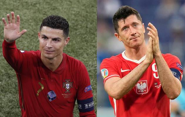 유로 2020 조별라운드 최종전 결과 호날두(왼쪽)가 이끄는 포르투갈은 16강 진출에 성공한 반면 레반도프스키의 폴란드는 탈락했다. /사진=로이터