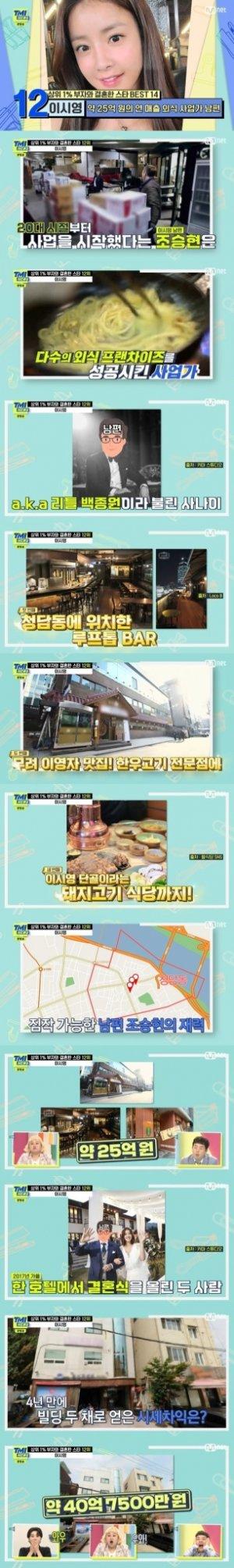 """""""청담동 가게 연매출 25억""""… 이시영 남편, 리틀 백종원?"""