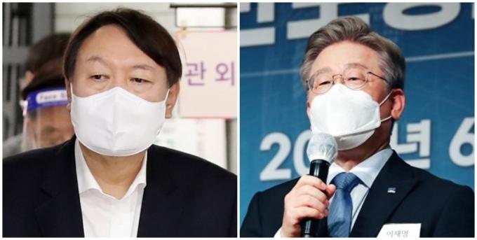 24일 여론조사에 따르면 윤석열 전 검찰총장(왼쪽)이 오차범위 밖에서 이재명 지사보다 높은 지지율을 기록했다./ 사진=임한별 기자, 국회사진취재단