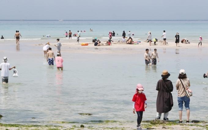 중국 양자강의 고수온·저염분수가 예년보다 한 달 일찍 흘러들고있어 제주도가 비상 대응을 준비하고 있다. 사진은 제주도 함덕해수욕장. /사진=뉴스1