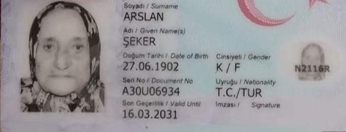 터키의 세커 아슬란 씨의 운전면허증에는 실제 출생일이 1902년 6월 27일로 기재돼 있다. /사진=데일리메일