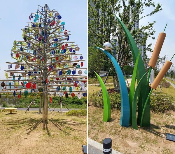 김포시(시장 정하영)는 김포골드라인 구래역사와 걸포동 나진포천 산책로 일원에 공공미술 프로젝트 'HAPPY君 PEACE孃' 사업을 성공적으로 완료했다고 30일 밝혔다. / 사진제공=김포시