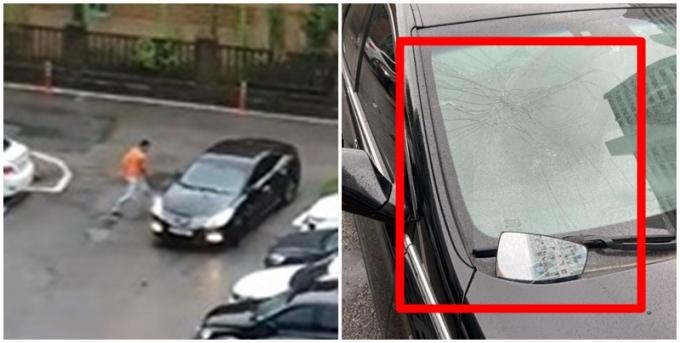 처음 본 남성이 자신의 차량을 부수고 폭행을 하려 했다는 글이 온라인 커뮤니티에 올라왔다 사진 속 주황색 상의를 입은 남성(왼쪽)이 글쓴이가 설명한 차량을 파손한 범인. /사진=보배드림 캡처