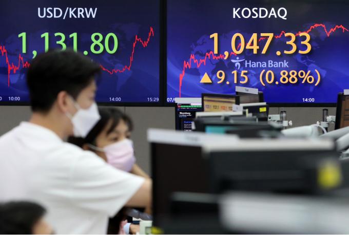 코스닥이 외국인 매수세에 힘입어 사상 최고치를 경신한 5일 오후 서울 중구 하나은행 딜링룸 전광판의 코스닥 지수가 전일 대비 9.15포인트(0.88%) 오른 1047.33을 나타내고 있다./사진=뉴스1