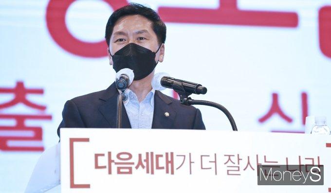 [머니S포토] 원희룡 지지모임 발족…축사 전하는 '김기현'