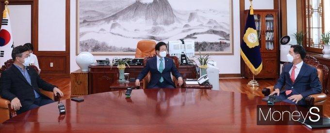"""[머니S포토] 박병석 """"23일안 통과되도록, 여야 열린마음으로 진정성있게 협의 결론내주길"""""""