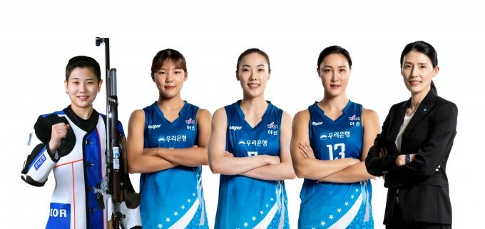 (왼쪽부터) 박희문, 박지현, 박혜진, 김정은, 전주원./사진=우리은행