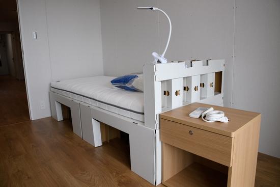 2020도쿄올림픽 선수촌에 설치된 골판지 침대의 모습. /사진=로이터