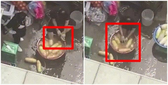 """""""중국이냐고? 한국이야""""… 발 담근 대야에서 식자재 손질"""