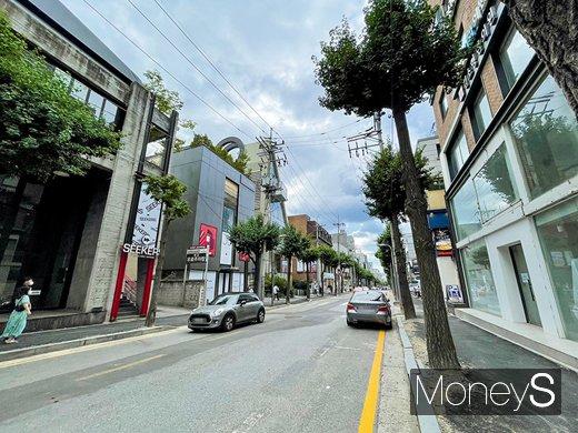 주말임에도 한적한 서울 강남구 신사동 가로수길 양쪽으로 공실이 줄지어 있다. /사진=강수지 기자
