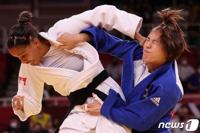 여자 유도 52㎏급 박다솔이 도쿄 올림픽 8강에 진출했다. © AFP=뉴스1