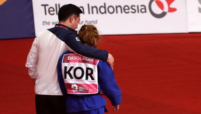 도쿄올림픽에 출전한 여자 유도 52㎏급 박다솔이 8강 진출에 성공했다. 사진은 2018 자카르타-팔렘방 아시안게임 유도 여자 52kg급 결승 경기에 출전했던 박다솔의 모습. /사진=뉴시스