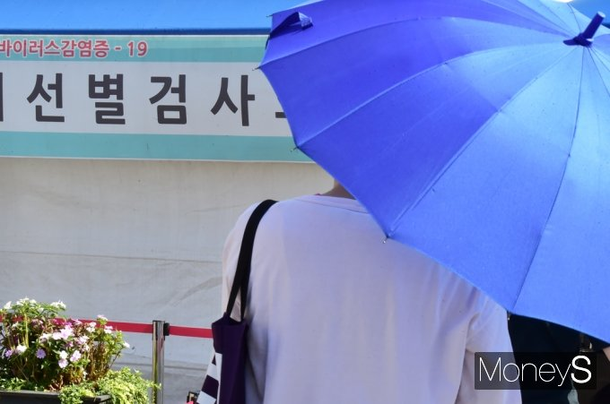 코로나19 전국 거리두기 3단계 시행이 기존 26일이 아닌 27일로 결정됐다. 사진은 지난 22일 서울 중구 서울역 광장에 마련된 임시 선별진료소에 한 시민이 우산을 쓰고 진단 검사 순서를 기다리는 모습. /사진=임한별 기자