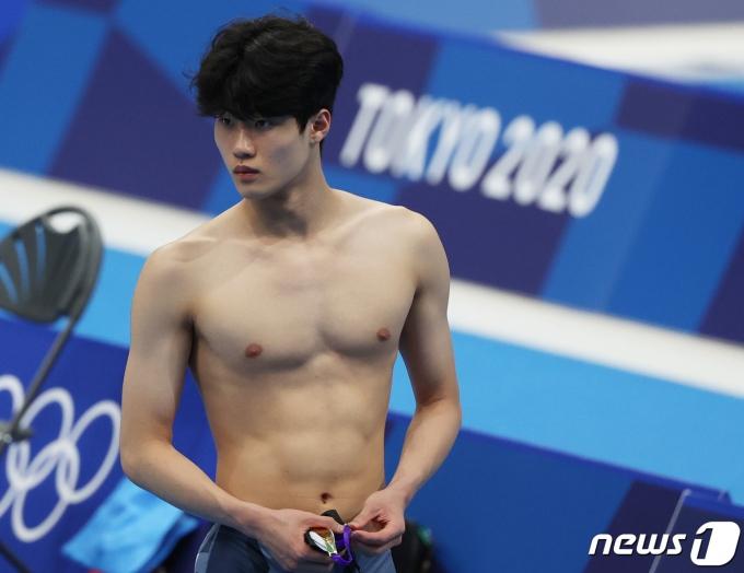 대한민국 수영 올림픽 대표팀 황선우가 22일 도쿄 아쿠아틱스센터에서 훈련을 하고 있다. 2021.7.22/뉴스1 © News1 송원영 기자