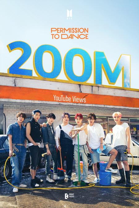 방탄소년단의 노래 '퍼미션 투 댄스'(Permission to Dance) 뮤직비디오가 유튜브 조회수 2억뷰를 돌파했다. /사진=빅히트뮤직