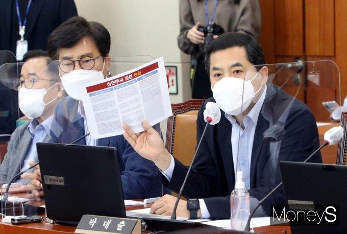 [머니S포토]정연주 방통심의위원장 위촉 관련 발언하는 野 박대출