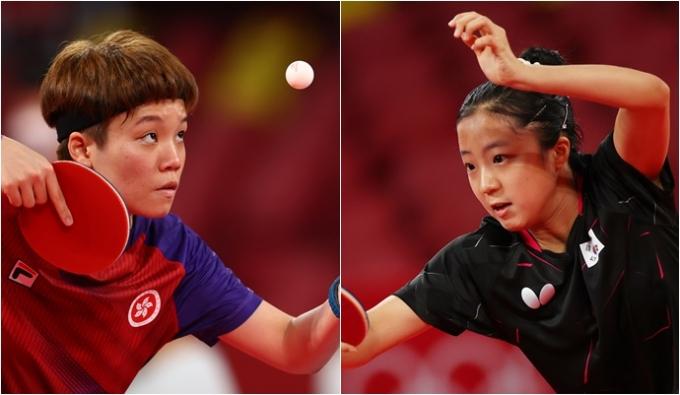 신유빈(오른쪽)이 27일 2020도쿄올림픽 일본 도쿄체육관에서 열린 탁구 여자 단식 32강전에서 두호이켐(홍콩)에 패해 16강 진출에 실패했다. /사진=로이터