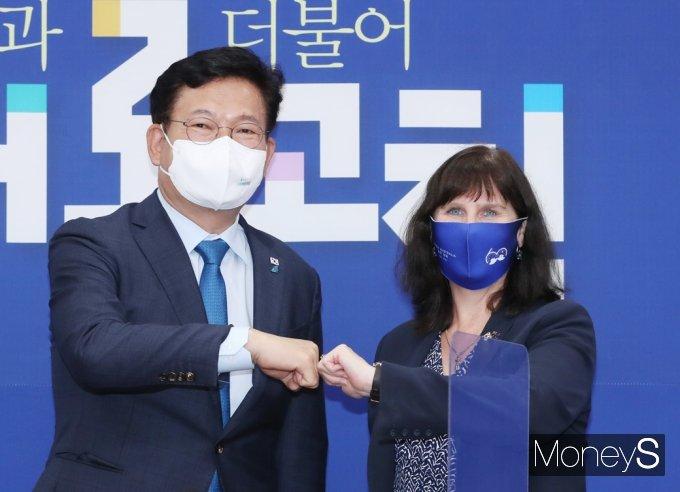 [머니S포토] 與 송영길, 6.25 참전 외손녀 '주한 호주대사' 접견