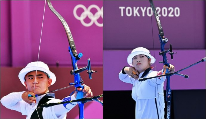 양궁 개인전 남자부 김제덕(왼쪽)과 여자부 장민희 2020도쿄올림픽 유메노시마 양궁장에서 벌어진 개인전 경기에서 16강 진출에 실패했다. /사진=로이터