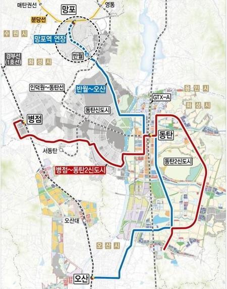 오는 2024년 착공해 2027년 완공될 것으로 전망되는 동탄도시철도 예상 노선도 모습. / 사진제공=화성시