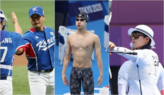 2020도쿄올림픽에 참가하고 있는 한국 선수단은 29일 수영, 야구, 양궁 등 다양한 종목에서 경기를 치른다. 사진은 왼쪽부터 오승환(야구), 황선우(수영), 안산(양궁)의 경기 모습. /사진=뉴스1
