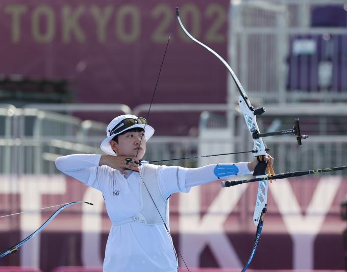 도쿄올림픽 여자 양궁대표팀 안산 선수를 향한 근거 없는 비난이 일자 팬들이 그를 지키기 위해 자발적으로 나섰다. 사진은 도쿄올림픽에 출전한 안산 선수. /사진=뉴스1