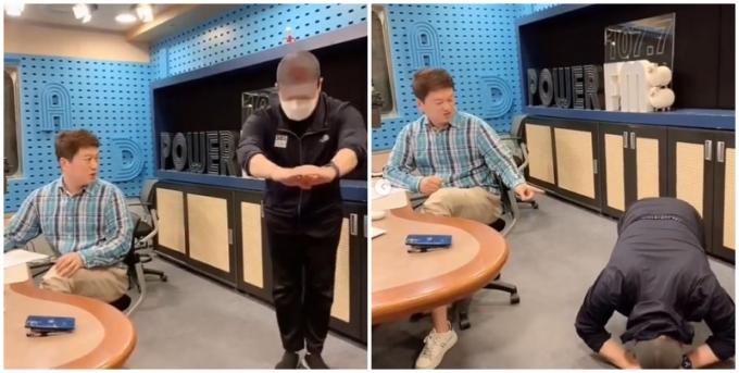 방송인 배성재가 라디오 생방송에 지각해 청취자들에게 큰절을 올리며 사과했다. 사진은 보이는 라디오 카메라를 향해 큰절을 하는 배성재(사진 오른쪽) 모습. /사진=인스타그램 캡처