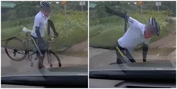 지난달 유튜브 '한문철TV'에는 자전거와 자동차의 비접촉 운전 사고 영상이 올라왔다. 양측은 서로 입장을 얘기하며 억울함을 호소했다. /사진=유튜브 캡처