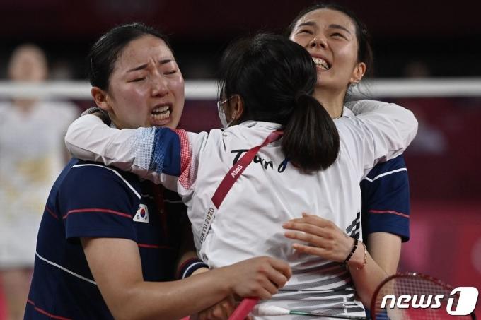 배드민턴 김소영-공희용 조는 2020 도쿄 올림픽 여자복식 4강에 진출했다. © AFP=뉴스1
