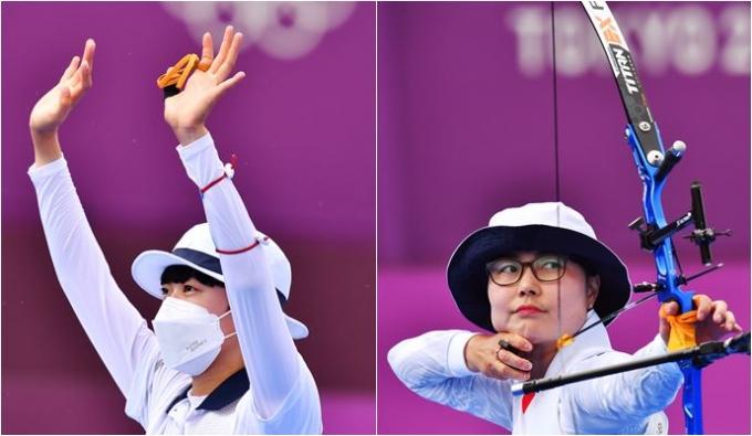 '막내 에이스' 안산이 30일 도쿄 유메노시마 공원 양궁장에서 열린  2020도쿄올림픽 양궁 여자 개인전에서 일본 귀화선수 하야카와 렌을 무너트리고 8강 진출했다. /사진= 로이터