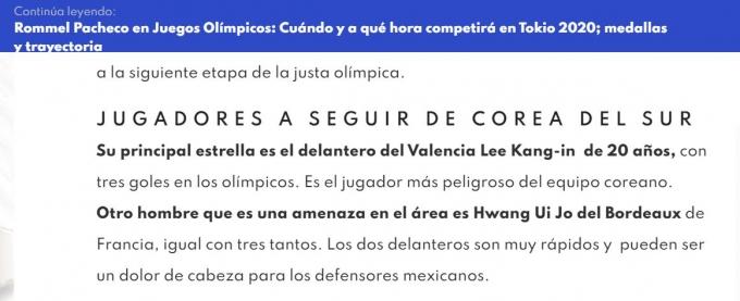 지난 28일(현지시각) 멕시코 매체 '풋볼토탈'은 오는 31일에 열릴 한국과 멕시코의 2020도쿄올림픽 8강전에 대한 전망을 보도했다. /사진=풋볼토탈 캡처