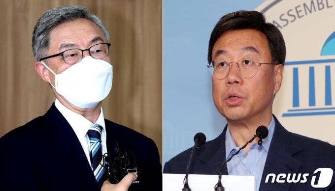국민의힘 대권주자인 최재형 전 감사원장(왼쪽)과 신상진 전 의원© 뉴스1