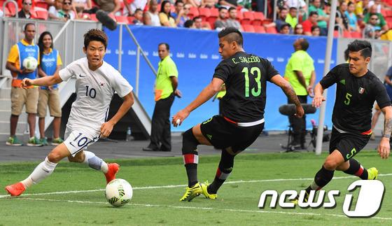 한국은 2016 리우 올림픽 조별 예선에서 멕시코를 만나 1-0으로 이긴 좋은 기억이 있다. 2016.8.11/뉴스1 © News1 이동원 기자