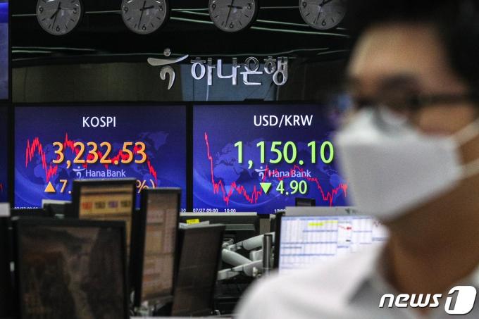 27일 오후 서울 중구 하나은행 딜링룸에서 관계자들이 업무를 보고 있다./뉴스1 © News1 성동훈 기자