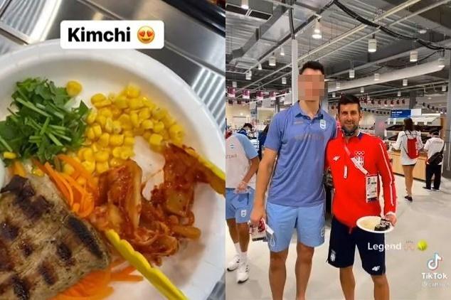 일본 선수촌 식당에서 제공되는 김치(왼쪽 사진). 테니스 세계 랭킹 1위 노박 조코비치(오른쪽 사진의 오른쪽)가 일본 선수촌에서 채식을 즐기고 있다. (틱톡 갈무리) © 뉴스1 © 뉴스1