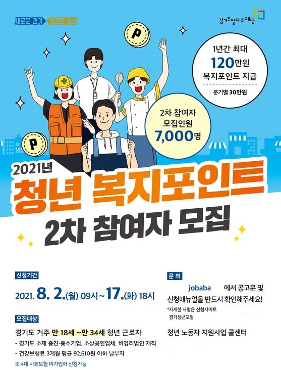 경기도가 오는 2일부터 17일까지 '청년 복지포인트' 2차 참여자 7000명을 공개 모집한 제공=뉴스1