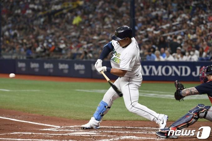 시즌 8호 홈런을 날린 탬파베이 레이스의 최지만. © AFP=뉴스1