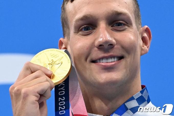 2020 도쿄 올림픽 첫 4관왕에 오른 미국의 케일럽 드레셀. © AFP=뉴스1