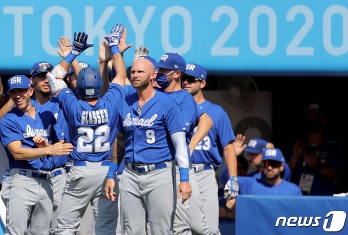 이스라엘이 2020 도쿄 올림픽 야구 녹아웃 스테이지 1라운드에서 멕시코를 이겼다. 이스라엘의 올림픽 야구 첫 승이다. © AFP=뉴스1