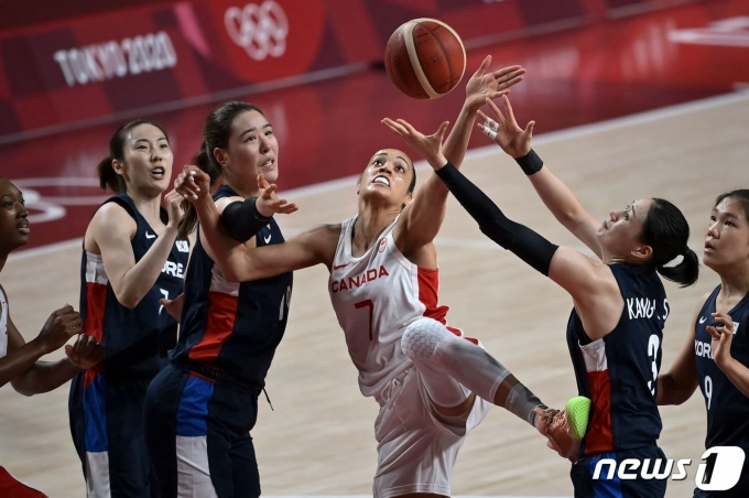 2020 도쿄 올림픽 농구 여자 조별리그 A조 캐나다와 경기에서 리바운드 다툼 중인 한국 선수들. © AFP=뉴스1