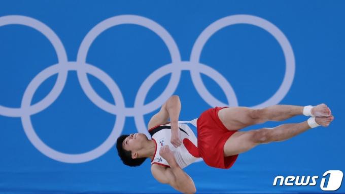 대한민국 체조 류성현이 1일 오후 일본 도쿄 아리아케 체조경기장에서 열린 '2020 도쿄올림픽' 남자 마루 결승에서 연기를 펼치고 있다. 2021.8.1/뉴스1 © News1 이재명 기자