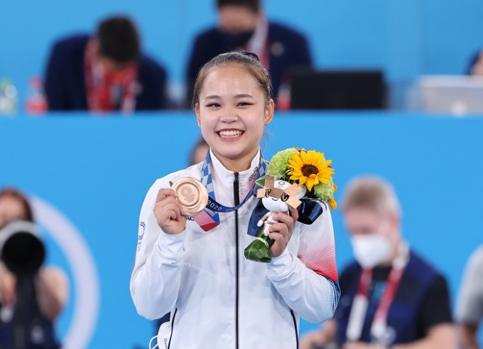 여서정은 1일 도쿄 아리아케 체조경기장에서 열린 여자 도마 결선에서 동메달을 획득했다. /사진=뉴스1