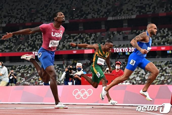 이탈리아의 마르셀 제이콥스가 2020 도쿄 올림픽 육상 100m에서 우승했다. © AFP=뉴스1